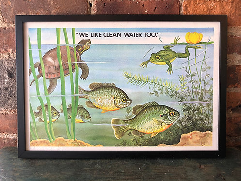1970s Vintage School Ecology Poster: Clean Water