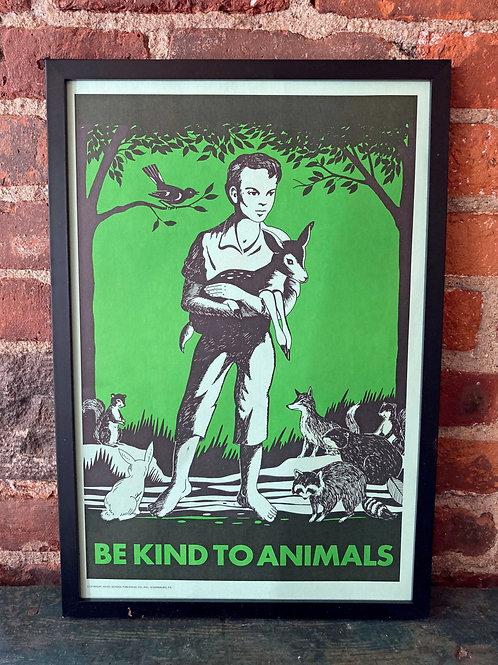 Vintage School Poster: Be Kind To Animals/ Eat Vegetables