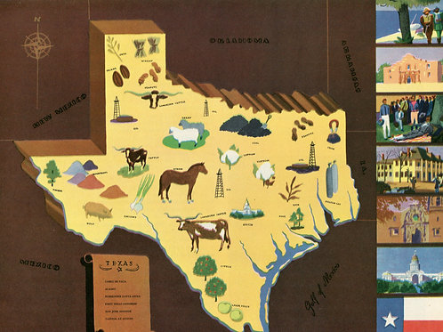 Vintage Pictorial Map of Texas 1939 World's Fair