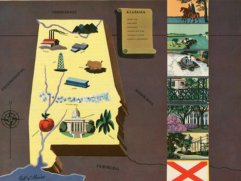 VIntage Pictorial Map of Alabama 1939 World's Fair