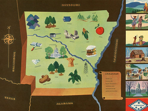 VIntage Pictorial Map of Arkansas 1939 World's Fair