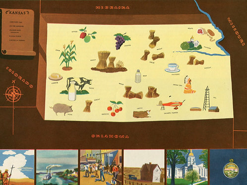 VIntage Pictorial Map of Kansas 1939 World's Fair
