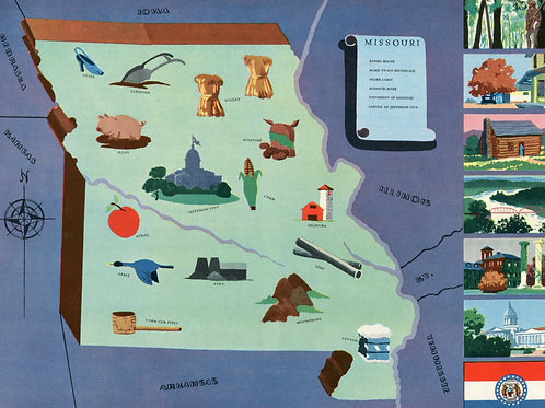 VIntage Pictorial Map of Missouri 1939 World's Fair