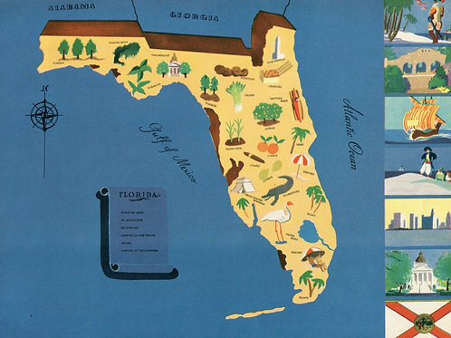 VIntage Pictorial Map of Florida 1939 World's Fair