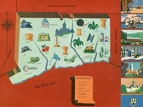 VIntage Pictorial Map of Connecticut 1939 World's Fair