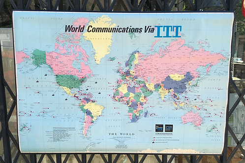 Mid Cent Mod Roll Up Wall Map of the World Via ITT Communications