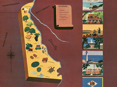 VIntage Pictorial Map of Delaware 1939 World's Fair
