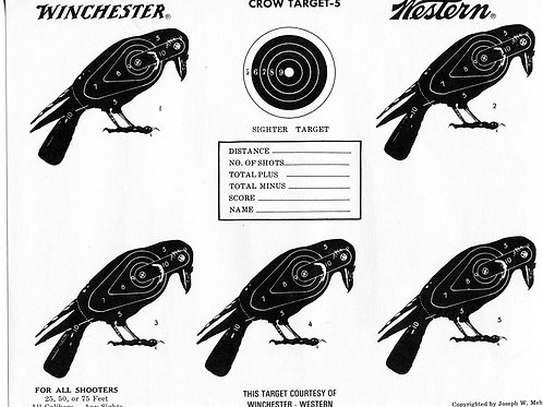 Vintage Shooting Target/ Winchester/ Multiple Crows