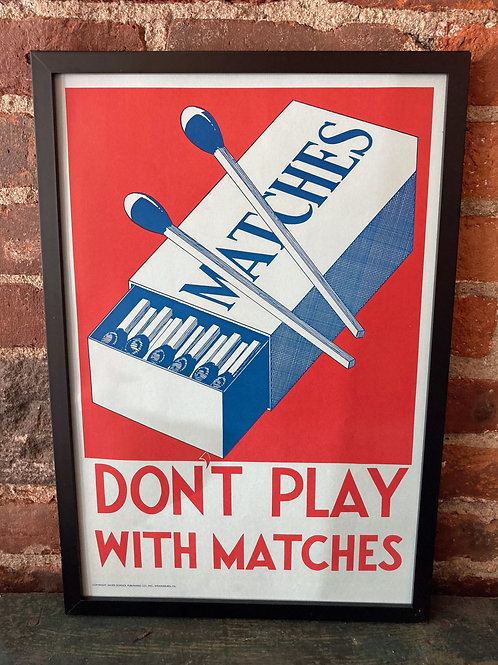 Vintage School Poster: Don't Play with Matches/ Water Safety