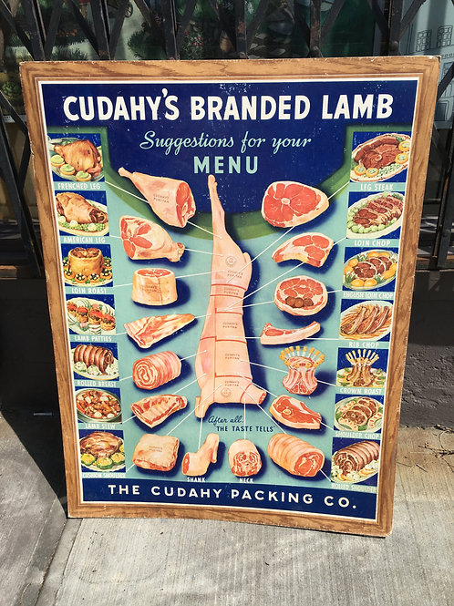 Vintage 1940s Cudahy Meat Poster/ Cuts of Lamb