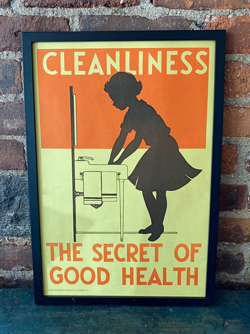 Vintage School Poster: Cleanliness/ Walk On The Left