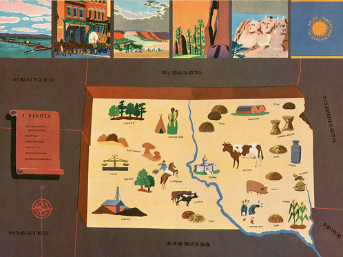 VIntage Pictorial Map of South Dakota 1939 World's Fair