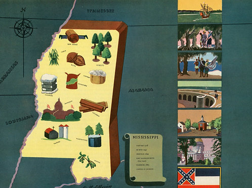 VIntage Pictorial Map of Mississippi 1939 World's Fair