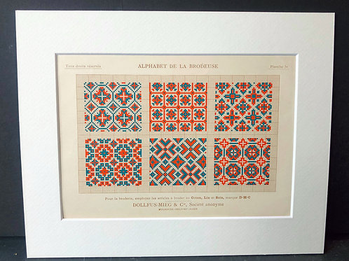 Antique Embroidery Pattern: Tiles I