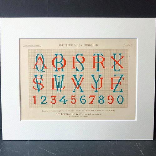 Antique Embroidery Pattern: Alphabet IV