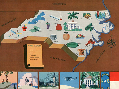 VIntage Pictorial Map of North Carolina 1939 World's Fair