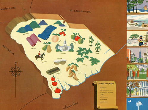 VIntage Pictorial Map of South Carolina 1939 World's Fair