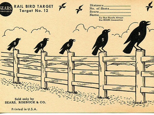 Vintage Shooting Target/Crows on a Fence