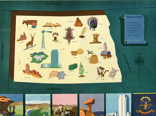 VIntage Pictorial Map of North Dakota 1939 World's Fair
