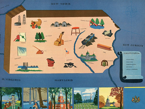 VIntage Pictorial Map of Pennsylvania 1939 World's Fair