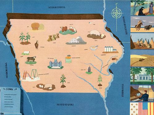 VIntage Pictorial Map of Iowa 1939 World's Fair