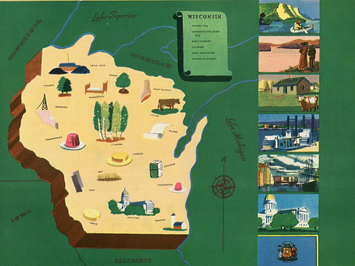 VIntage Pictorial Map of Wisconsin 1939 World's Fair