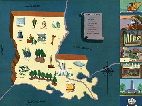 VIntage Pictorial Map of Loiusiana 1939 World's Fair