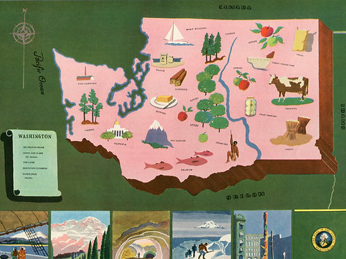 VIntage Pictorial Map of Washington State 1939 World's Fair