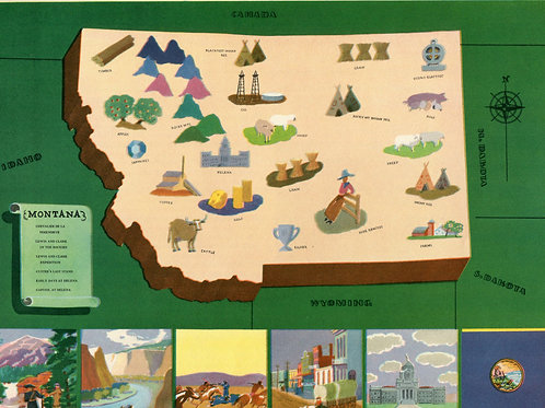 VIntage Pictorial Map of Montana 1939 World's Fair