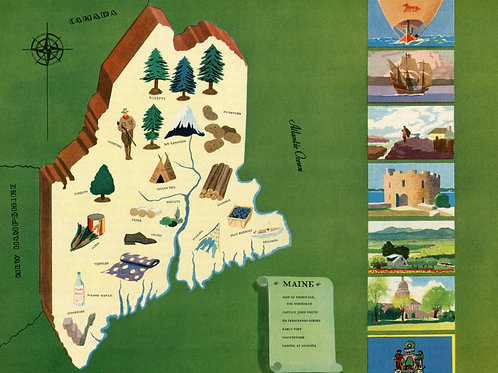 VIntage Pictorial Map of Maine 1939 World's Fair