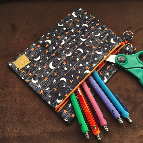 Moon and Stars Large Zipper Pouch