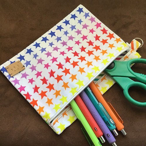 Rainbow Star Large Zipper Pouch
