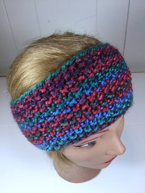 Knitted Blue, Red, and Green Seed Stitch Headband
