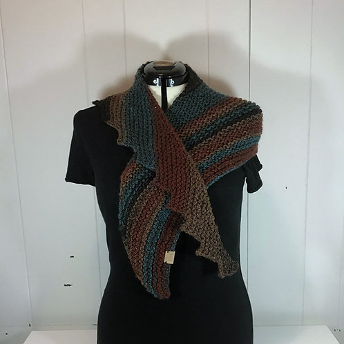 Knitted Brown and Blue Stair Edge Scarf