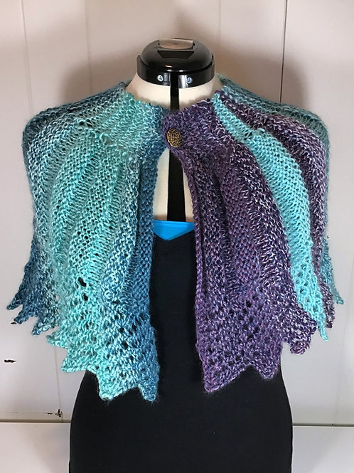 Knitted Blue and Purple Capelet