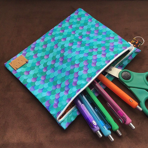 Mermaid Scale Large Zipper Pouch with Pocket
