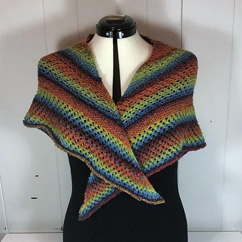 Knitted Rainbow Triangular Shawl