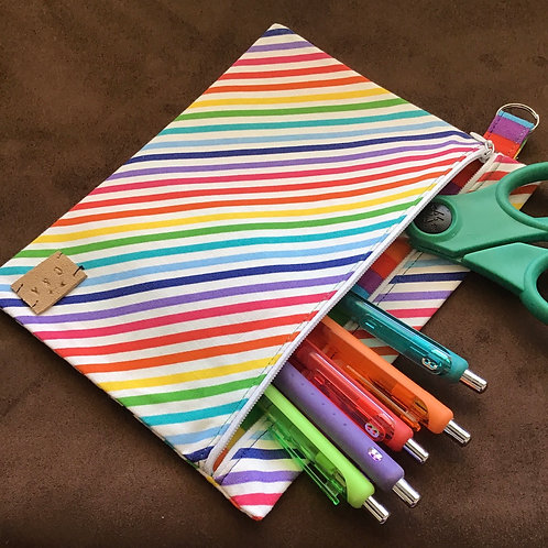 Rainbow Stripe Large zipper pouch