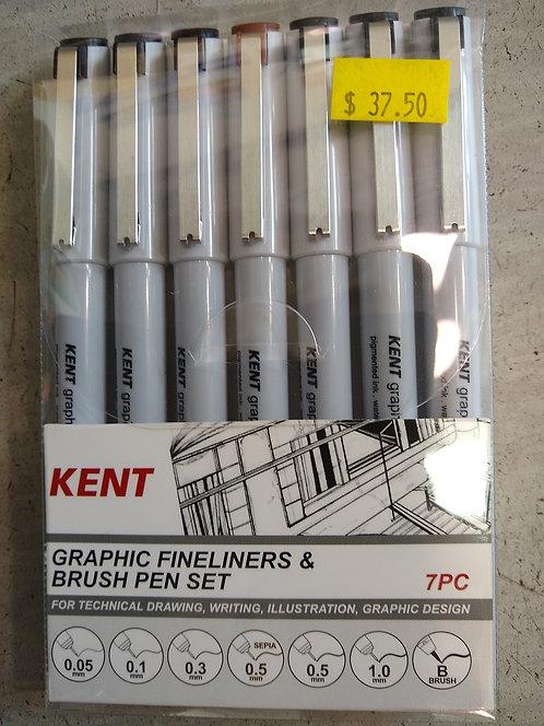 Kent Graphic Fineliners & Brush Pen Set