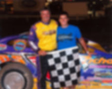 Steve Baker and his son Frankie in victory lane at PPMS.