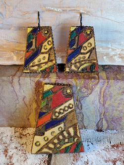 AMous Leather Earings & pendant