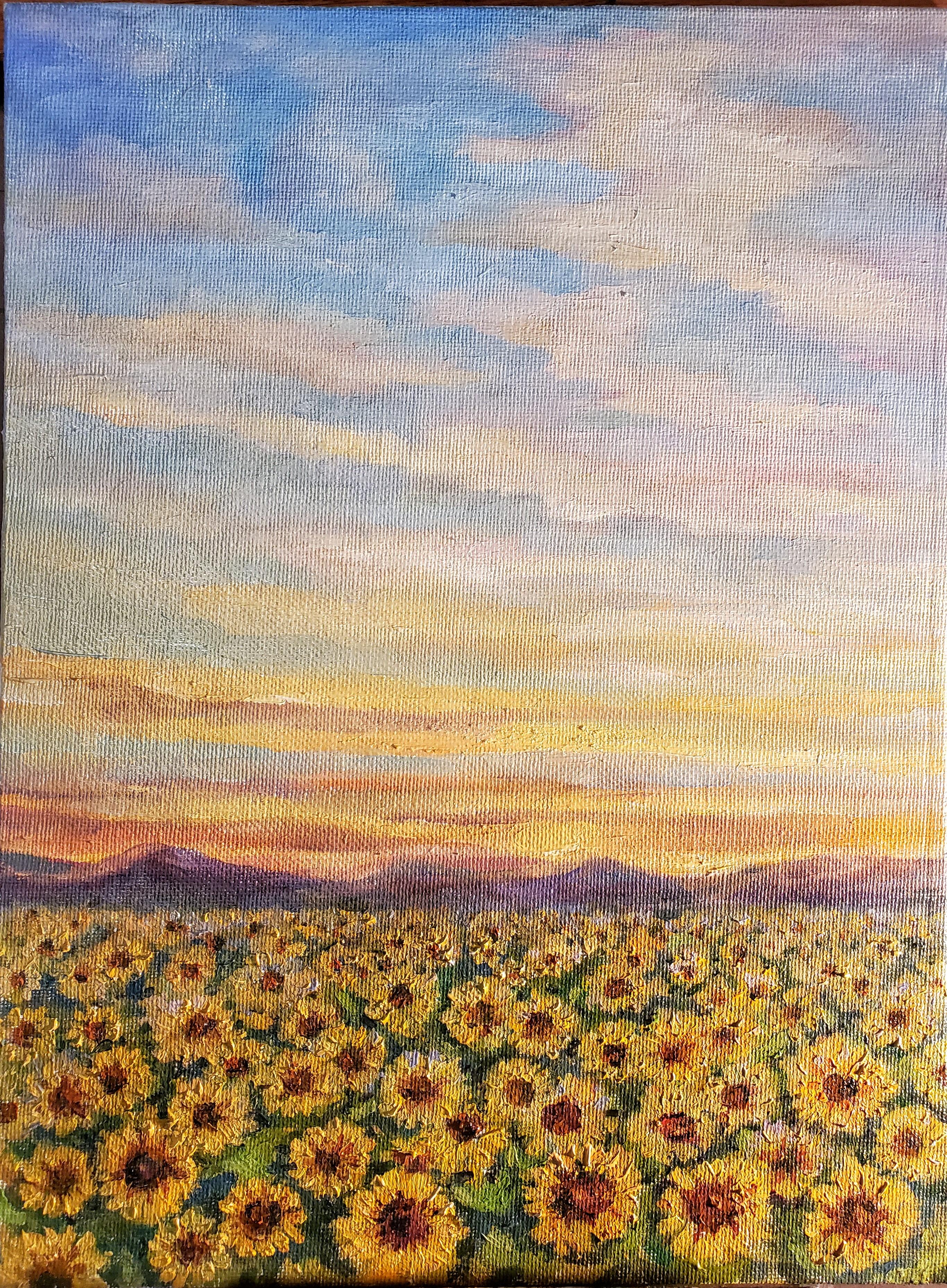 FieldwithSunflowersSummer12x9oiloncanvas