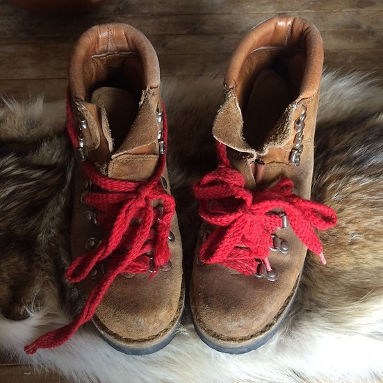 Vintage 1970's Logger Boots with Red Laces