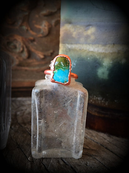 Turquoise Copper Alpine Ring #61