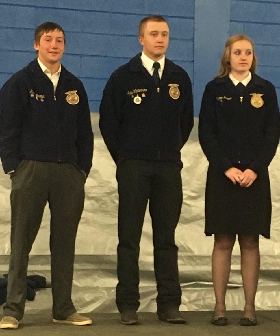 State FFA Degree Recognition, Kason Brown, Jacob Wintermote and Cheyenne Harper