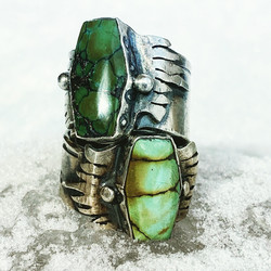 Heavy Metal Hand Crafted Turquoise Ring Collection