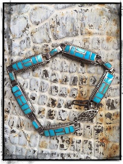 Vintage ✳ INLAY TURQUOISE ✳Zuni Bracelet