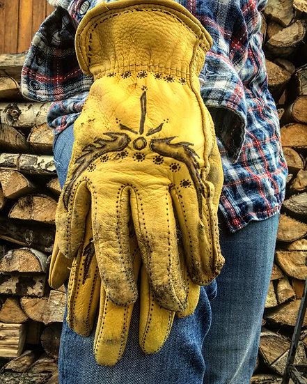 Hand Burned Little Bird Moto/Work Gloves