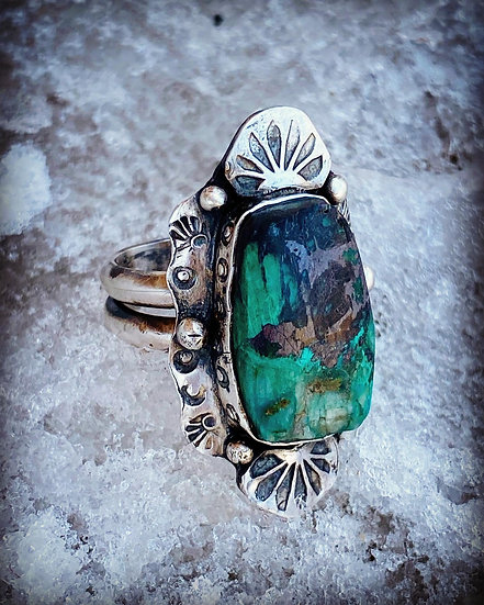 Mountain Mama Ring Chrysocolla and Sterling Silver