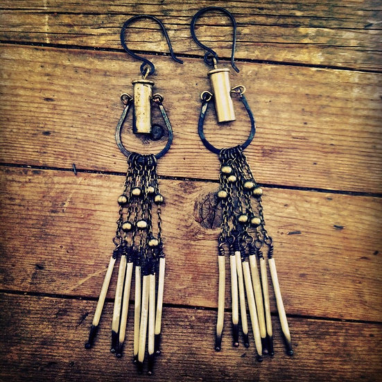 Whiskey Nights Quill and Bullet Earrings